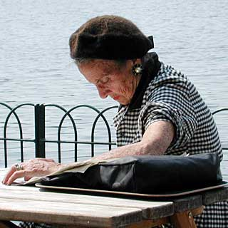 old lady reading in hyde park sun