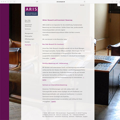 Website Screenshot 1 groesser - Kunden - ARIS GmbH – Aktien-Research und Investment-Steuerung